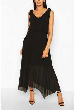 Black Tie Strap Pleated Skirt Maxi Dress