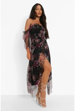 Black Floral Mesh Rouched Maxi Dress