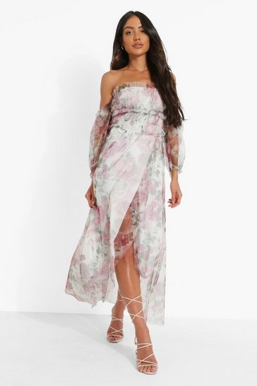 White Floral Mesh Rouched Maxi Dress