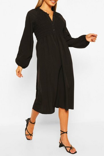 Black Oversized Shirred Detail Midi Smock Dress