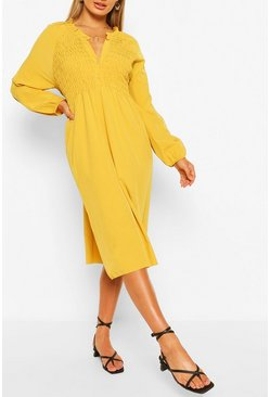 Robe babydoll mi-longue coupe oversize à fronces, Moutarde