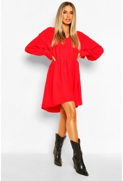 Red V Neck Pin Tuck Frill Detail Smock Dress