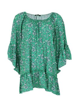 Green Floral Flared Sleeve Ruffle Hem Swing Dress