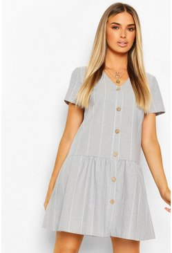 Pastel blue Linen Stripe Button Detail Smock Dress