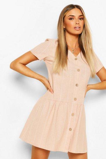 Pink Linen Stripe Button Detail Smock Dress