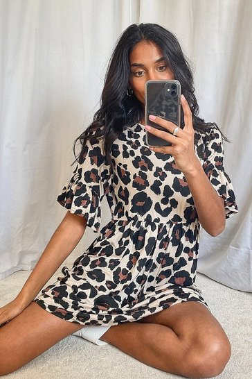 Tan brown Leopard Print Smock Dress