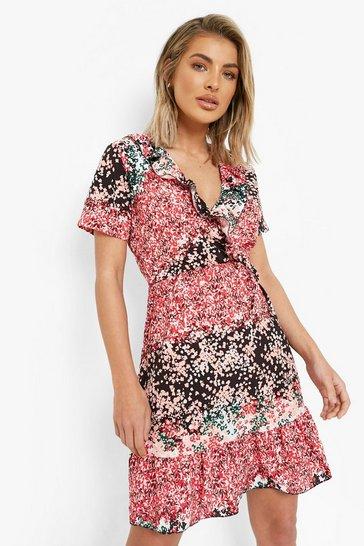 Black Floral Wrap Short Sleeve Tea Dress