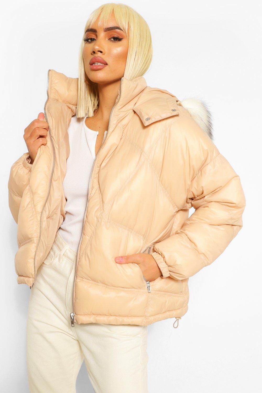 Puffer Jackets Faux Fur Trim Diamond Quilt Puffer