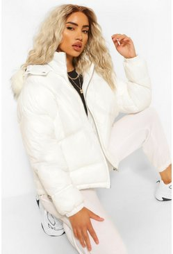 White Faux Fur Trim Diamond Quilt Puffer