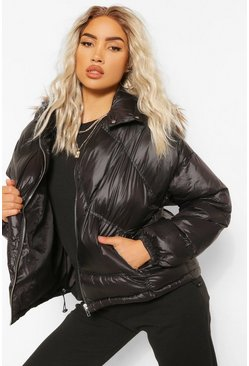Black Faux Fur Trim Diamond Quilt Puffer