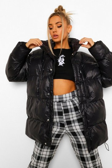 Black Oversize Funnel Neck Cire Puffer