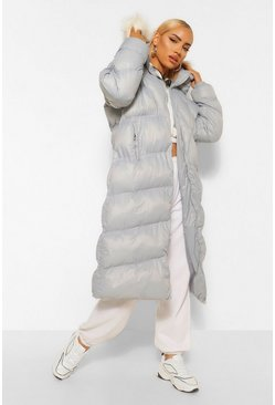 Blue Diamond Quilt Faux Fur Trim Puffer