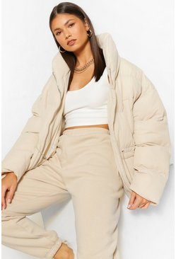 Taupe Funnel Neck Waist Detail Puffer