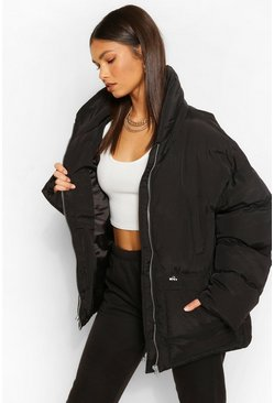 Black Funnel Neck Waist Detail Puffer