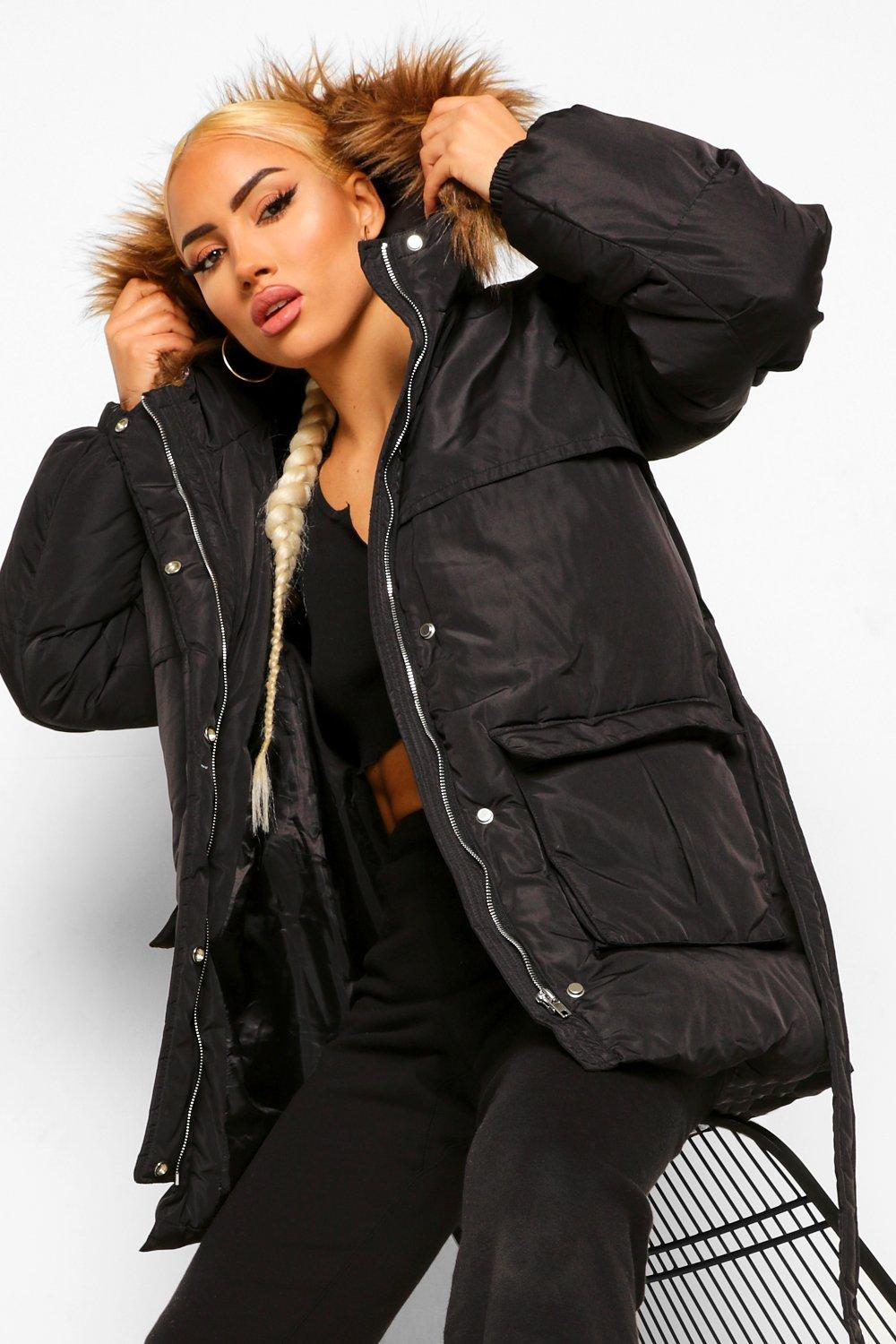 COATS & JACKETS Belted Faux Fur Trim Puffer