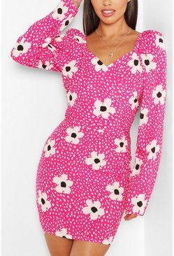 Hot pink pink Woven Floral Spot Wrap Puff Sleeve Mini