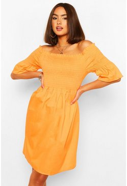 Orange Off The Shoulder Shirred Skater Dress