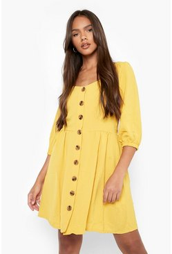 Mustard yellow Linen Button Detail Square Neck Skater Dress