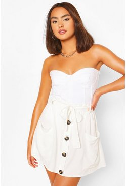 Ivory white Button Front Tie Waist Mini Skirt