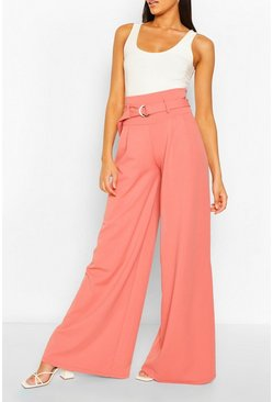 Rose pink Belted Deep Waist Extreme Wide Leg Trousers
