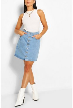 Light blue blue Button Through Denim Mini Skirt