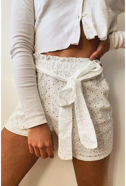 White Broderie Anglaise Belted Shorts