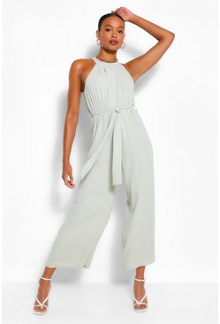 Sage green High Neck Belted Jumpsuit