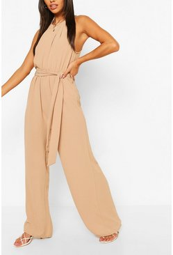 Stone beige High Neck Belted Jumpsuit