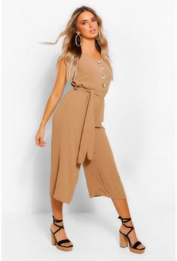 Stone beige Tie Strap Button Through Culotte Jumpsuit