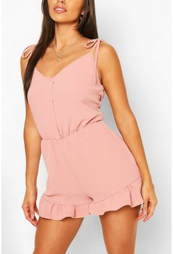 Blush pink Tie Strap Detail Frill Hem Playsuit