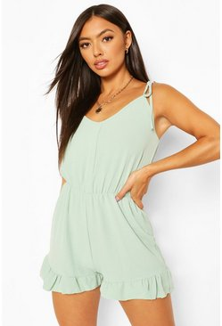 Mint Tie Strap Detail Frill Hem Playsuit