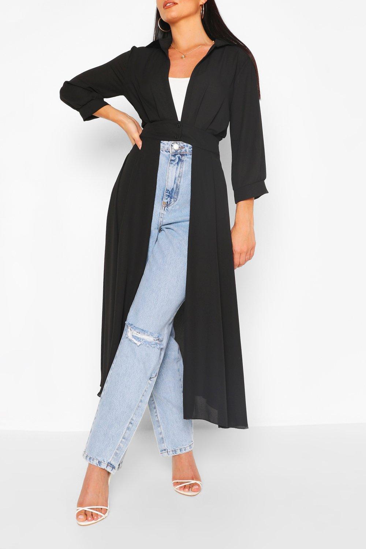 COATS & JACKETS Black Woven Button Through Maxi Shirt