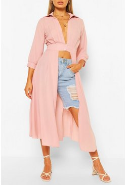 Blush pink Woven Button Through Maxi Shirt