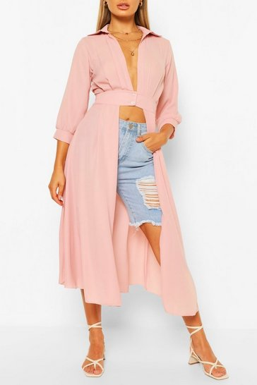 Blush pink Nude Woven Button Through Maxi Shirt