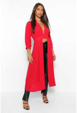 Red Woven Button Through Maxi Shirt