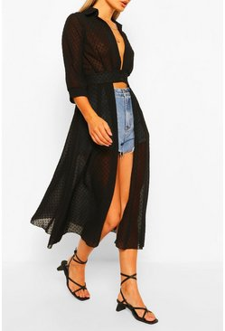 Black Woven Dobby Button Through Maxi Shirt