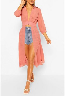 Blush pink Woven Dobby Button Through Maxi Shirt