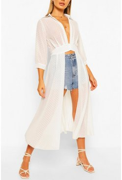 Ivory white Woven Dobby Button Through Maxi Shirt