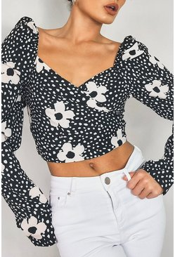 Black Woven Printed Puff Sleeve Crop Top