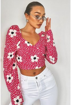 Pink Woven Printed Puff Sleeve Crop Top