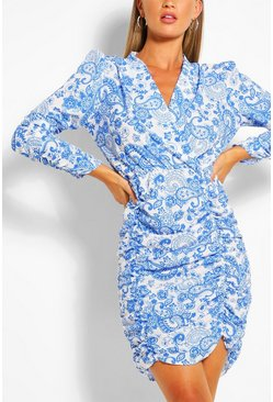 Blue Wrap Front Long Sleeve Porcelain Print Midi Dress