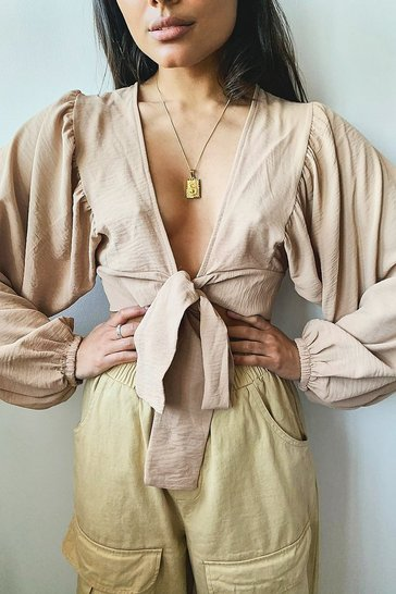Camel beige Woven Tie Front Oversized Sleeve Crop Top