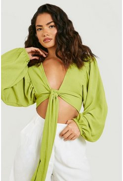 Woven Tie Front Oversized Sleeve Crop Top, Olive