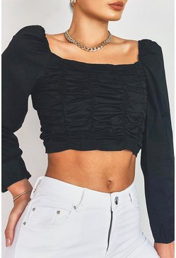 Black Woven Ruched Long Sleeve Crop Top