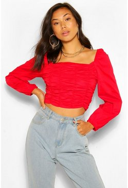 Red Woven Ruched Long Sleeve Crop Top
