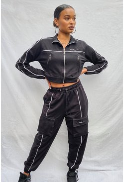 Black Woman Zip Through Crop Sweat