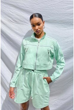 Mint Woman Zip Through Crop Sweat