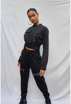 Black Woman Zip Detail Jogger