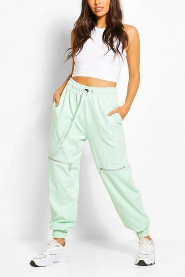 Mint green Woman Zip Detail Jogger
