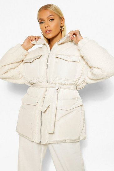 Ecru white Teddy Faux Fur Mix Belted Puffer